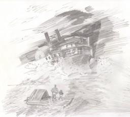 "Моя иллюстрация к книге М.Твена ""Приключения Гека Финна"""